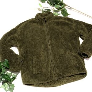 Forever 21 Olive Green Teddy Bear Sherpa Jacket